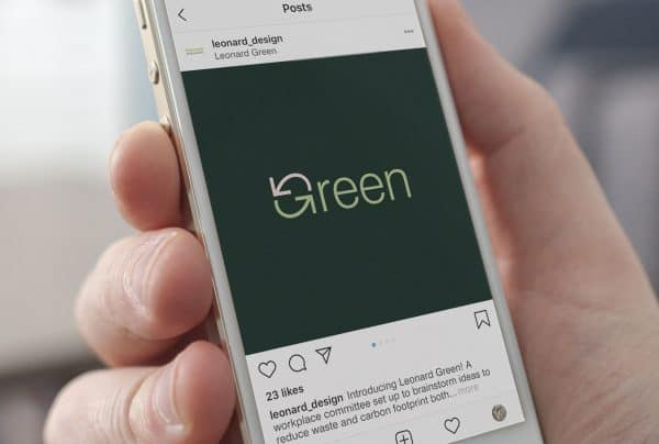 Leonard Green logo and imagery on Instagram announcing our fight against climate change